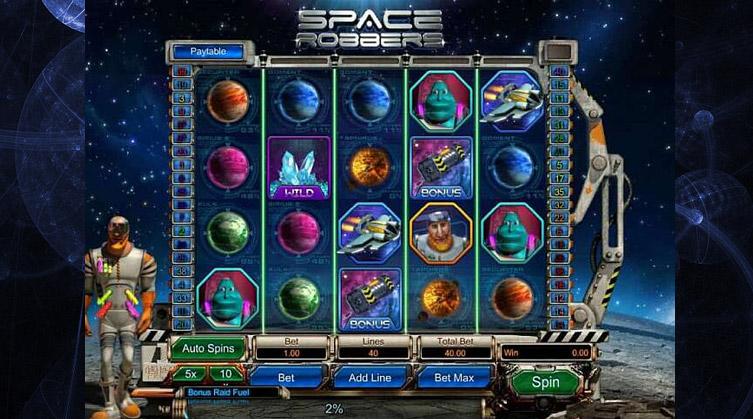Space Robbers, une machine à sous 3D sur le thème de l'espace